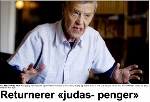Friele. Misliker Nina Karin Monsens stemme. (Famsimile Dagbladet)